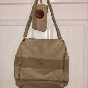 Handbags - Taupe leatherette and canvas stripe purse